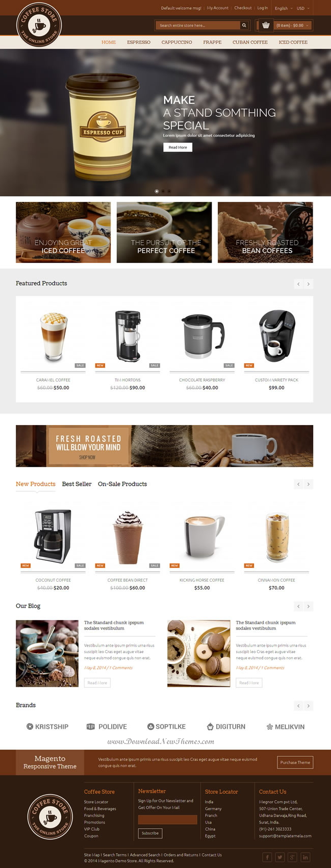 Coffee Magento Responsive Theme is specially designed for coffee, chocolate, foods, restaurant, ...