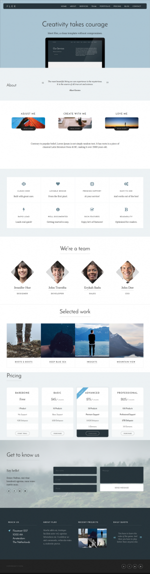 Flex, a clean and responsive HTML5 template, made with passion for all sorts of creatives, busin ...
