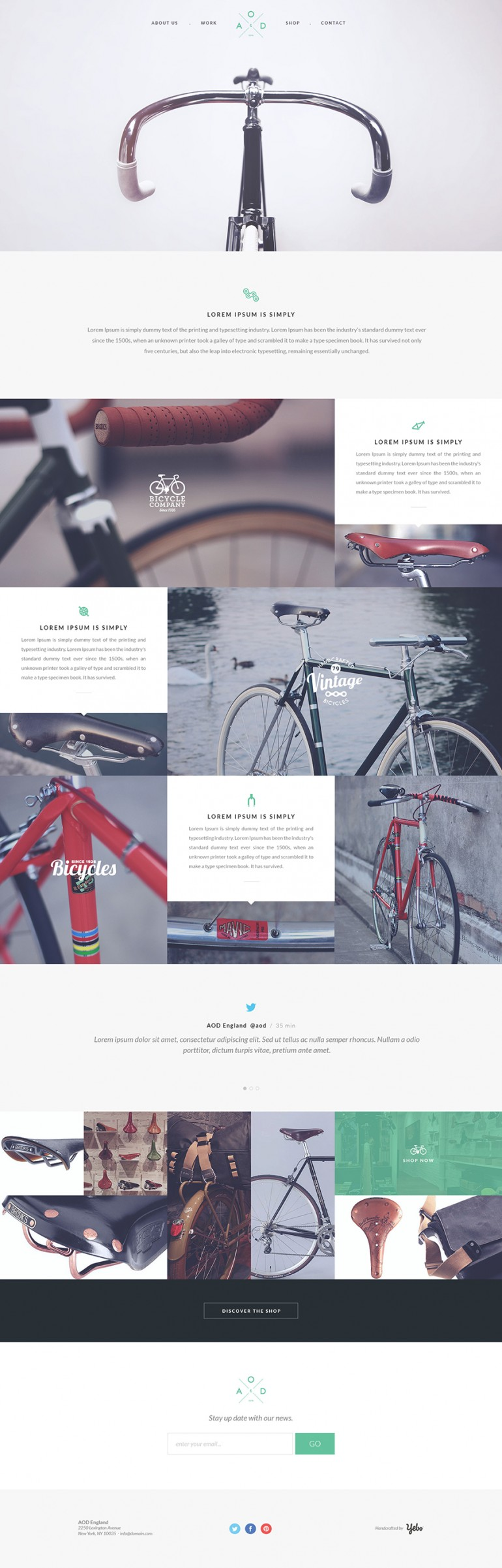 Free one page PSD template by Yebo! – Bicycle