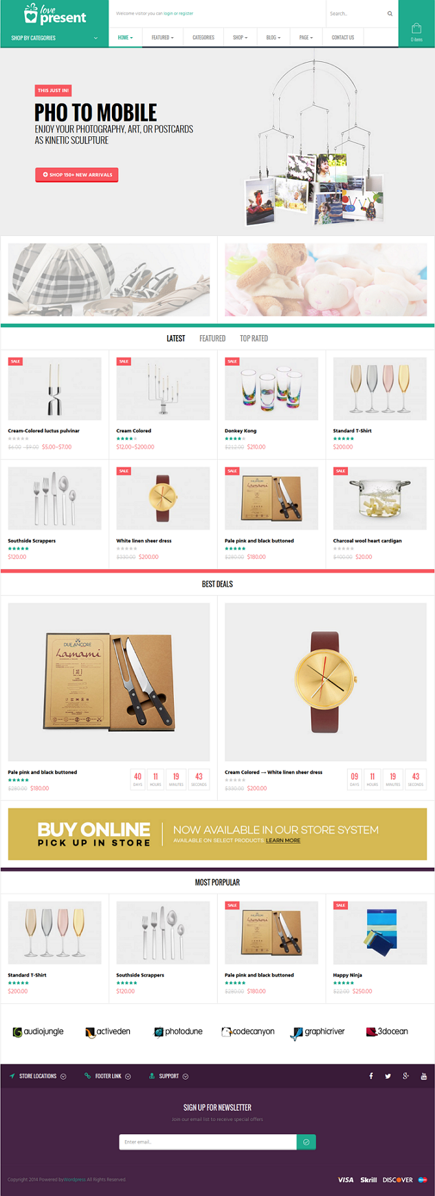 Present is a WooCommerce Responsive WordPress Template suitable for any kind of Fashion Shop, Mo ...