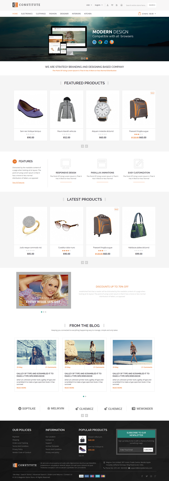 Constitute Magento Responsive Theme is designed for fashion, shoes, bags, jewellery, electronics ...