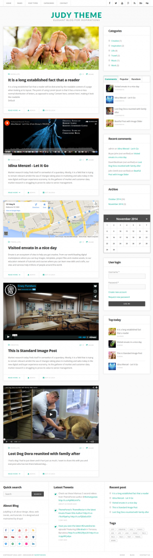 JudyBlog is an elegant Blog drupal theme which have many useful features to allow you build a cr ...