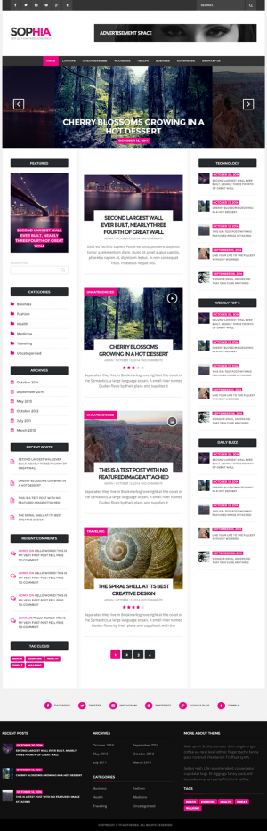 Sofia is a modern minimal yet elegant WordPress theme focused on readability and functionality, ...
