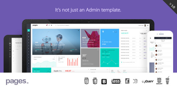 Pages is an new responsive Admin Dashboard Template. Its a multipurpose, carefully designed UI f ...