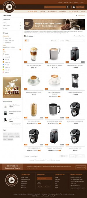 Coffee Prestashop Responsive Theme is specially designed for coffee, chocolate, foods, restauran ...