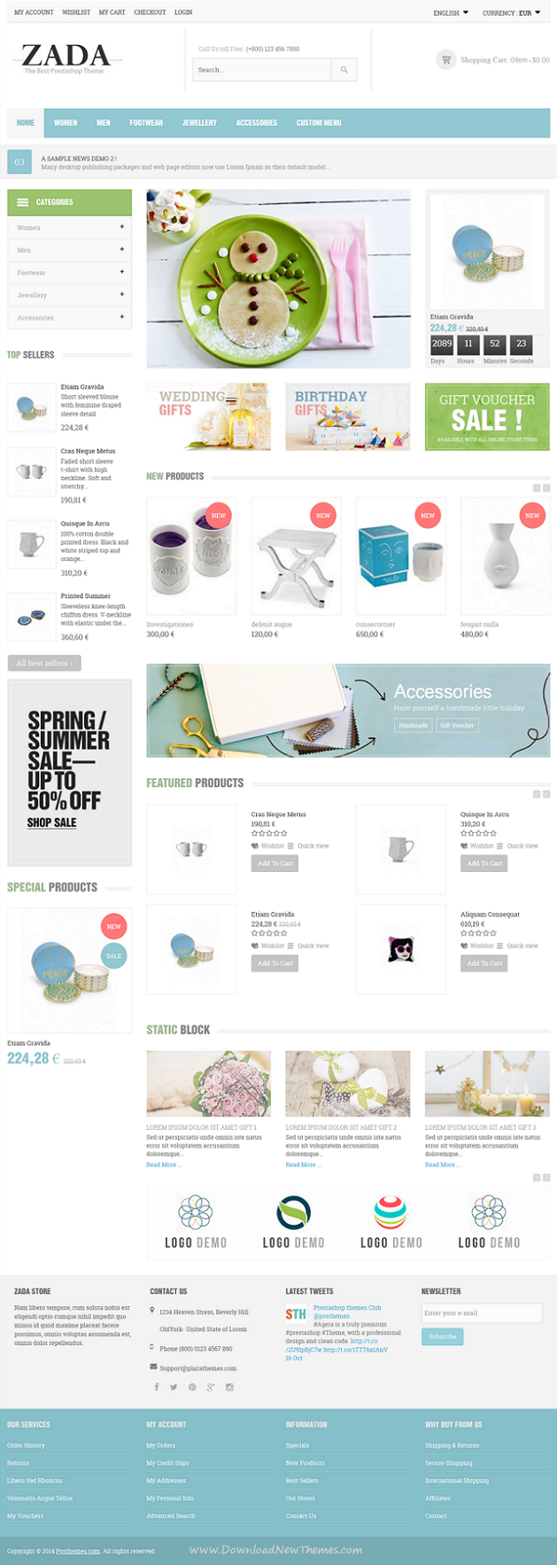 Zada is a Responsive Prestashop Theme is dedicated for sportswear, furniture, gifts, souvenirs, ...