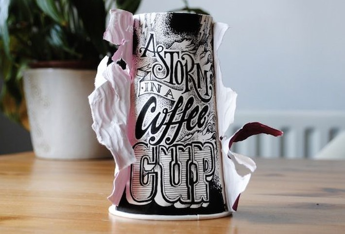 Hand Lettered Coffee Cups by Rob Draper | Downgraf
