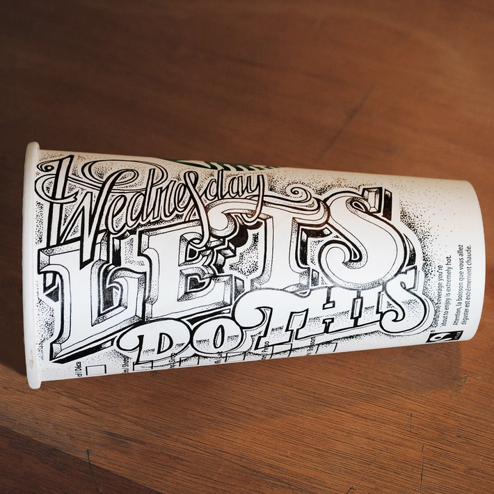 Hand Lettered Coffee Cups by Rob Draper   Downgraf