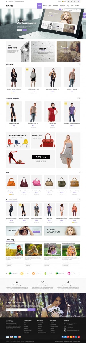 Micra is a responsive multipurpose Magento theme which is fully customizable and suitable for an ...