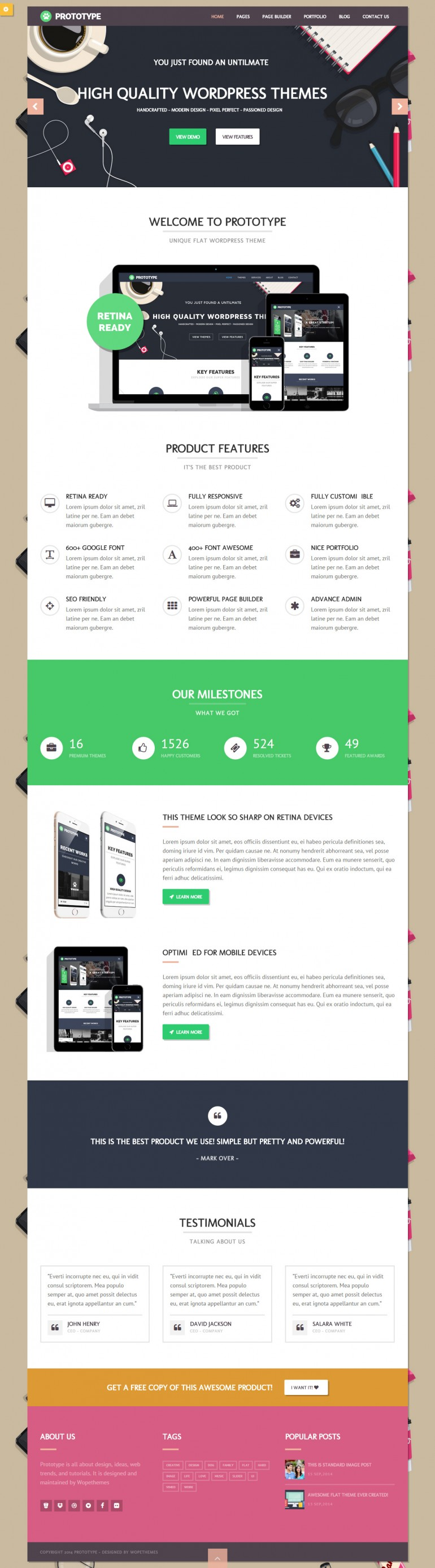 Prototype – Flat WordPress Theme