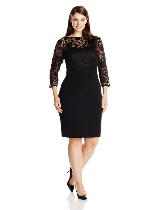 Jessica Howard Women's Plus-Size 3/4 Sleeve Lace Banded Dress