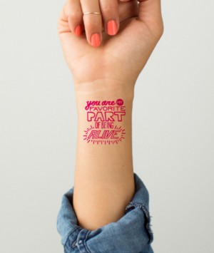 Create custom-designed temporary tattoos with your Valentine's message