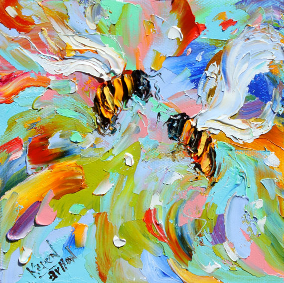 Fine Art Print Bees made from image of oil by Karensfineart