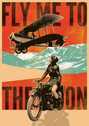 Fly with meBeautiful vintage poster with editable text.
