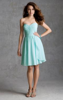 Blue Sweetheart Knee Length Bridesmaid Dress on kissydress.co.uk