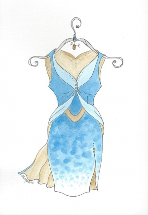 ORIgINAL Watercolor DRESS Up C fashion style by DianaMartinStudio