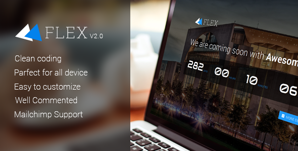 Flex responsive coming soon template template suitable for any creative business agency.