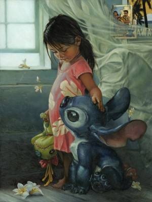 Disney Lilo and Stitch – Ohana Means Family – Gallery Wrapped Canvas by Heather Theurer