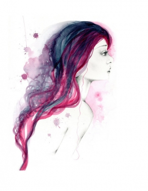 She's Hear My Voice Watercolor Painting Fine by ABitofWhimsyArt