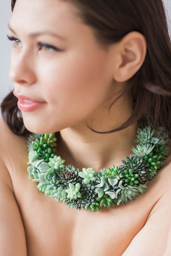 Stunning statement necklace made of live succulents for weddings or special events.