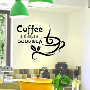 Wall Vinyl Decal Coffee is always a good idea by WisdomDecals