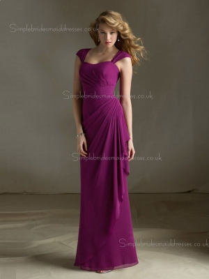 Floor-length Empire Tiered/Draped Straps Chiffon Fuchsia Column Sheath Zipper Sleeveless Bridesm ...