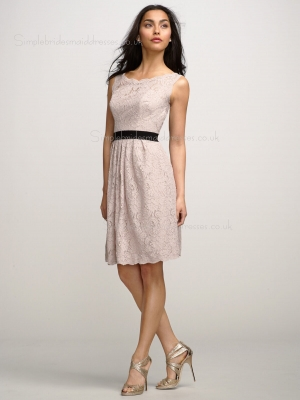 Natural A-line Lace Indy Pink Sleeveless Applique/Sash Backless Bateau Knee-length Bridesmaid Dr ...