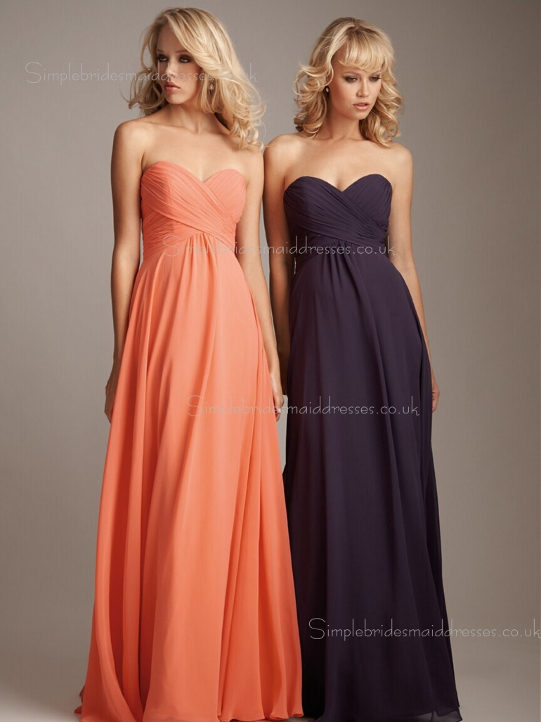 Chiffon Ruffles Sleeveless Empire A-line Sweetheart Floor-length Zipper Bridesmaid Dress