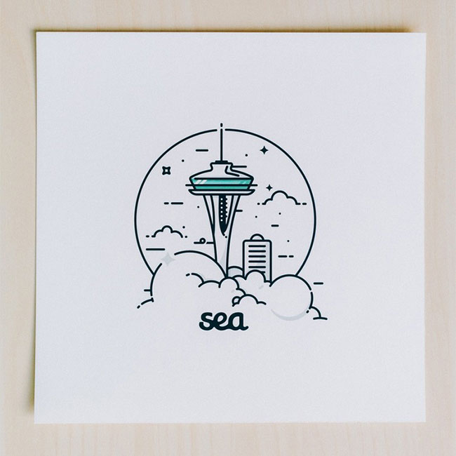 Minimalist Seattle illustration by Kirk Wallace