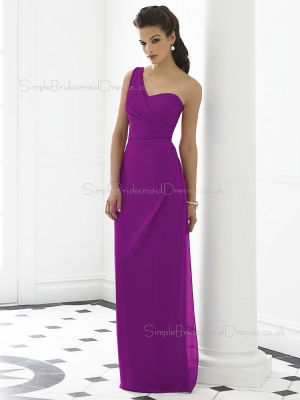 Chiffon Sleeveless Dropped Purple Ruched Floor-length One-Shoulder Column-Sheath Zipper-Back Bri ...
