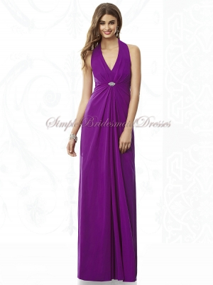 Draped/Beading Chiffon Floor-length A-line Halter/V-neck Purple Empire Zipper dahlia Sleeveless ...
