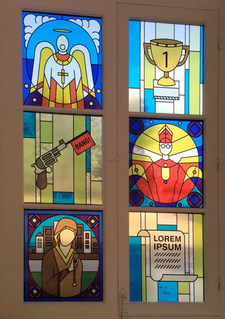 Series of stain glass window designs applied with foil.
