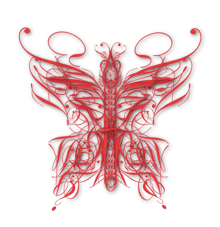 Butterfly made out of letters from the Edwardian font.