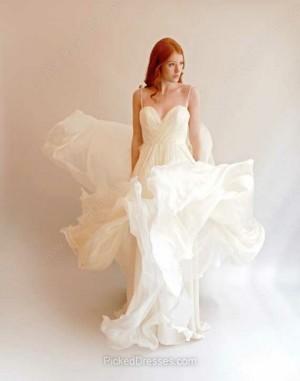 Chiffon A-line Sweetheart Sweep Train Ruffles Wedding Dresses
