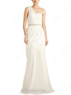 Chiffon Trumpet/Mermaid One Shoulder Floor-length Beading Wedding Dresses