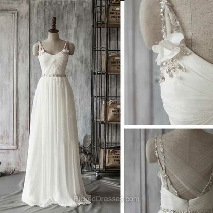 Chiffon Tulle A-line Sweetheart Sweep Train Beading Wedding Dresses