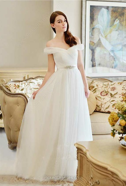 Tulle A-line Off-the-shoulder Floor-length Beading Wedding Dresses