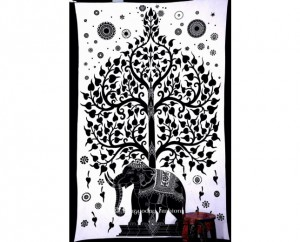 Modern Design Cotton Elephant Tree Tapestry Online From India