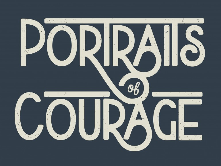 """Portraits of Courage"" hand drawn typography logo by Jenna Bresnahan"