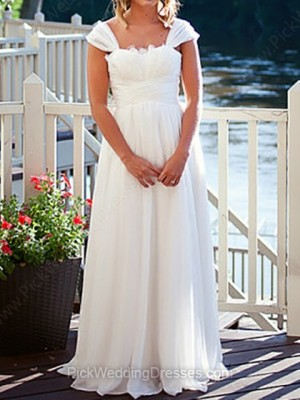 A-line Floor-length Chiffon Lace Off-the-shoulder Wedding Dresses