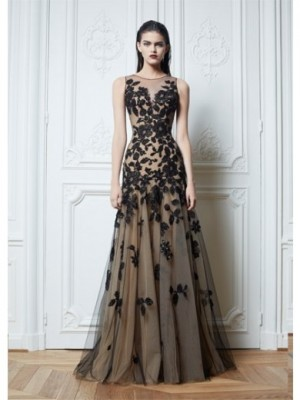 Net Prom Gown with Applique