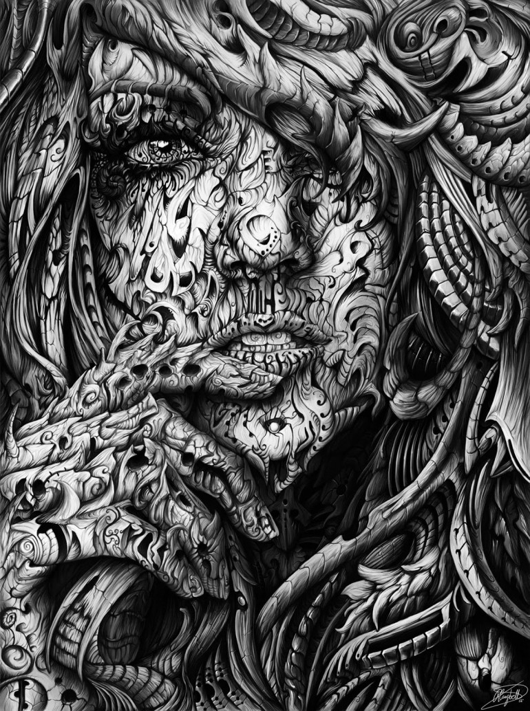 Black and White Digital Illustrations by René Campbell | 2 Illustration Mag