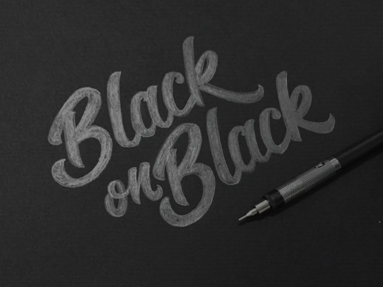 """Black on Black"" hand drawn typography logo by Jenna Bresnahan"