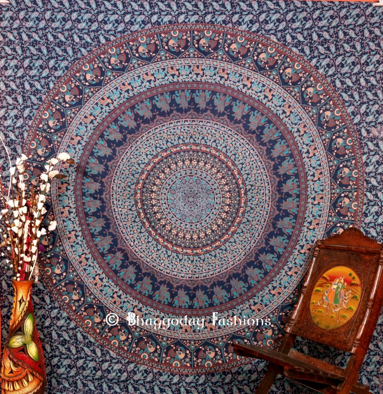 Boho design printed luxury mandala flower wall hanging Indian tapestry in blue color. Add this r ...