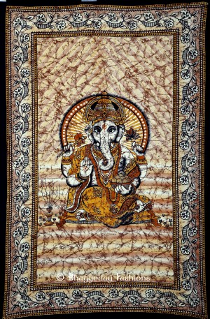 Brown Hindu God Ganesha Tapestry