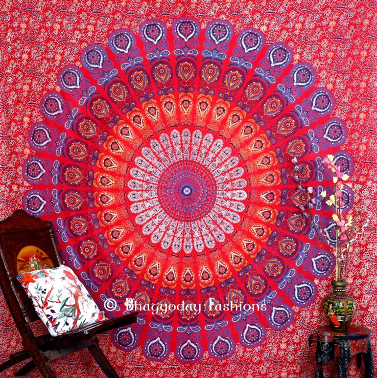 Mandala Peacock Tapestry Bedspread for Home Decor