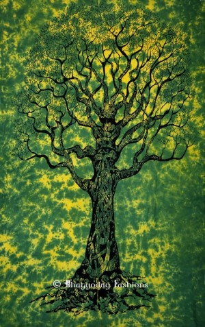 Tapestry Wall Hanging in Green and Yellow