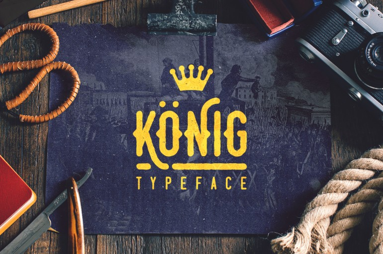 König is a handcrafted vintage display typeface that is strong and bold. It features four styles ...