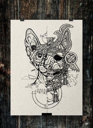 Samurai Cat, sketch by El