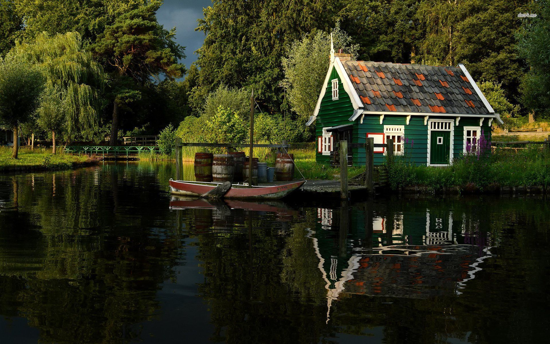Small House On The River Side Photography Wallpapers On